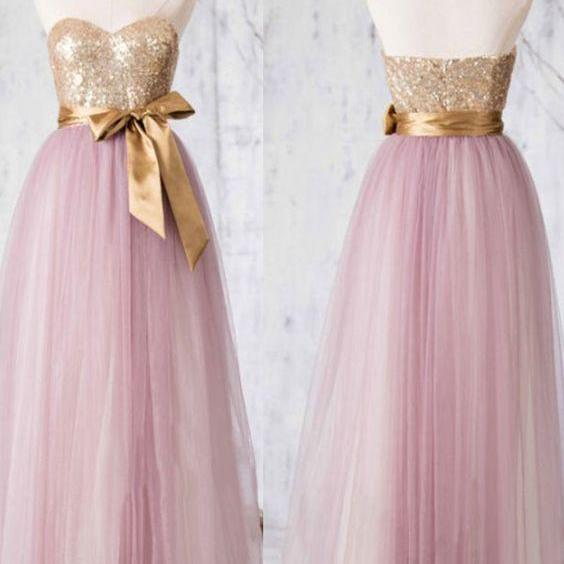 Sequined Bridesmaid Dress, Sweetheart Tulle Bridesmaid Gowns, Two-toned Princess Bridesmaid Dress ,B1357