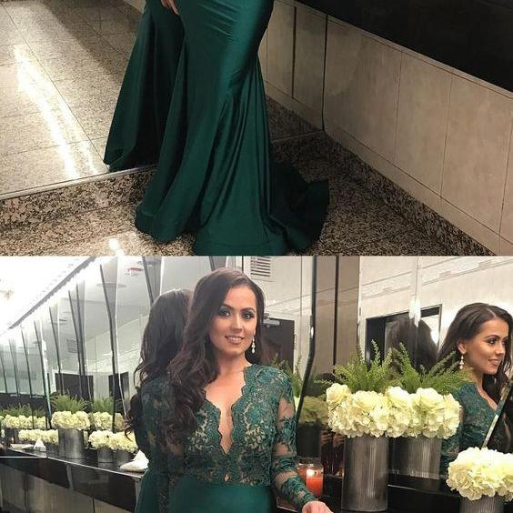 Long Sleeves Prom Dress, Emerald Green Evening Dress,Mermaid Prom Dresses,P1742