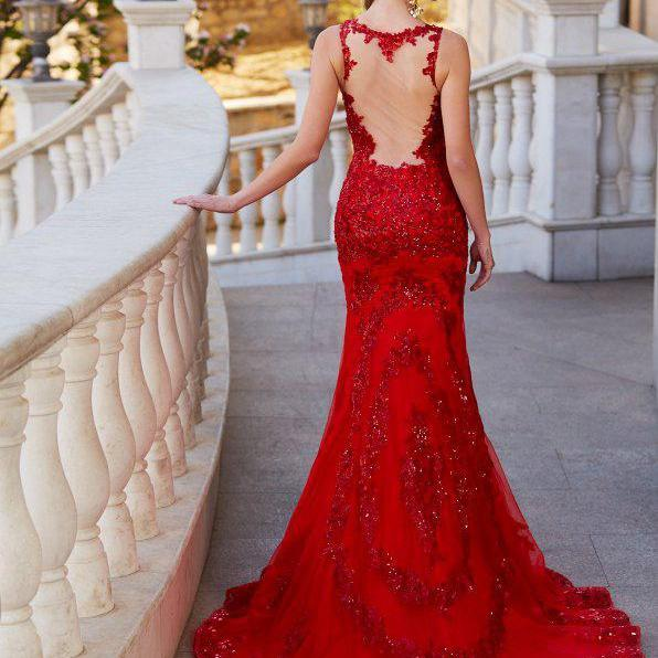 Red Prom Dresses,Mermaid Evening Dress,Fitted Prom Dress,Gorgeous Prom Dress,P1743