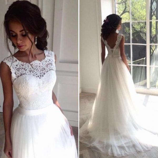 2018 New Lace O-Neck Lace Tulle Boho cheap Wedding Dresses Summer Beach Bridal Gown Bohemian Wedding Gowns,W2004