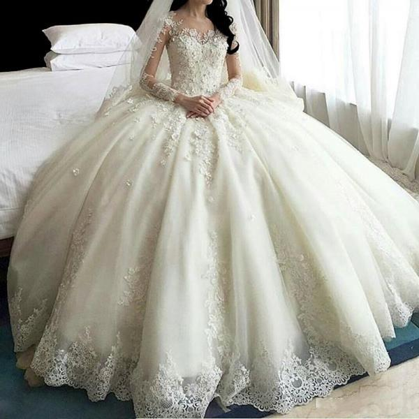 Hot Sale Dubai Crystal Flowers Ball Gown Wedding Dresses 2017 New Long Sleeve Muslim Lace Appliques Wedding Gowns Bridal Dress,W2005
