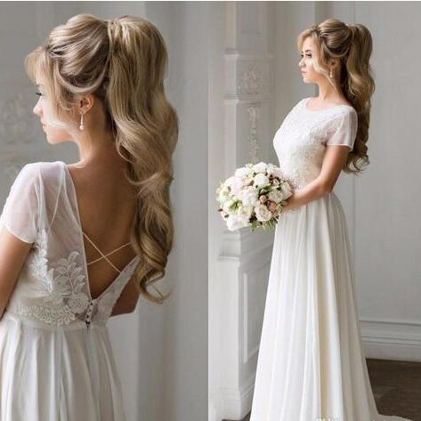 Hot Summer Beach Backless Wedding Dresses Bohemian A Line Lace Chiffon Bridal Gowns Long Summer Wedding Vestidos,W2890