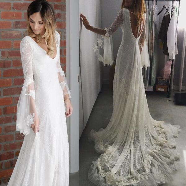 Bohemia Boho Wedding Dress Deep V Neck Country Bridal Gown Fairy Medieval 2019,W2891
