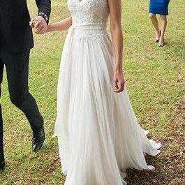 Princess Cap Sleeves Ivory Lace Wedding Dresses,Cheap Sash Beach Wedding Dress Bridal Gowns,W3100