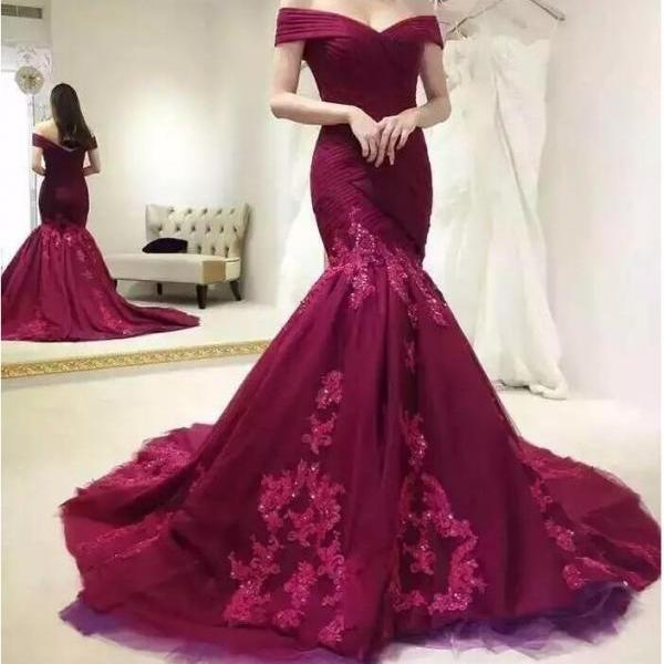 Burgundy Mermaid Prom Dresses,Off The Shoulder Prom Dress,Evening Gowns,Formal Dress,Robe De Soiree,Special Occasion Dress, P3549