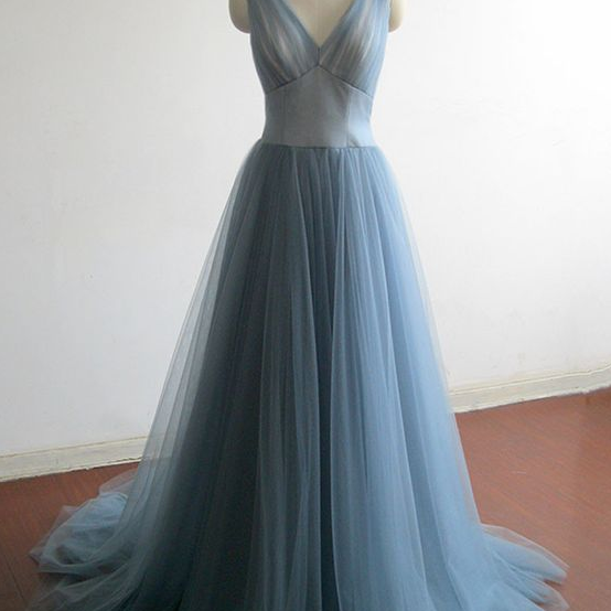 Elegant blue tulle prom dress, v-neck prom dress with train, ball gown, 206
